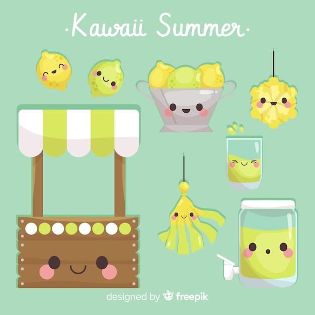 Kleurrijke kawaii zomer elementen collectie Gratis Vector