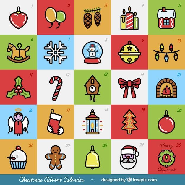 Kleurrijke kerst adventskalender Premium Vector