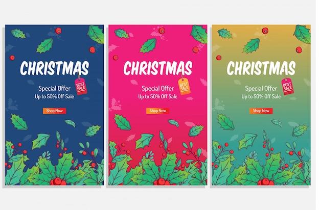Kleurrijke kerstaffiche om te winkelen sale of discount with cute winter leaves for Premium Vector
