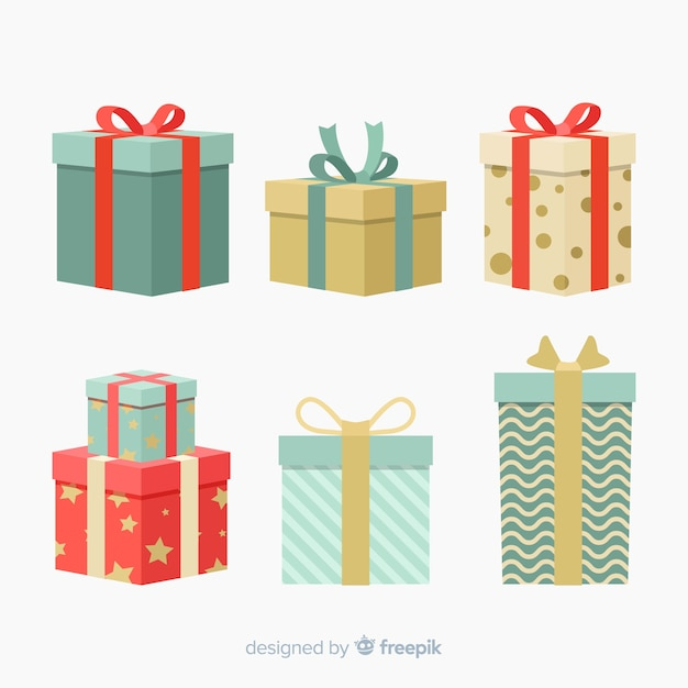 Kleurrijke kerstcadeau collectie met platte ontwerp Gratis Vector