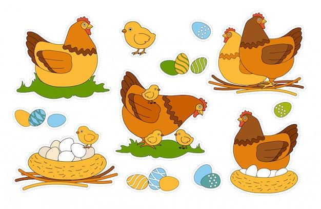 Kleurrijke kinderen pasen happy holiday sticker pack met gekleurde en versierde eieren, kuikens, kip wandelen met kuikens, broedende kip zittend op de nestle. binnenlandse vogels. knip en lijm kinderspel. Premium Vector