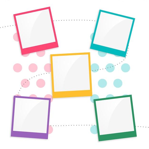 Kleurrijke kinderen plakboek paginasjabloon Gratis Vector