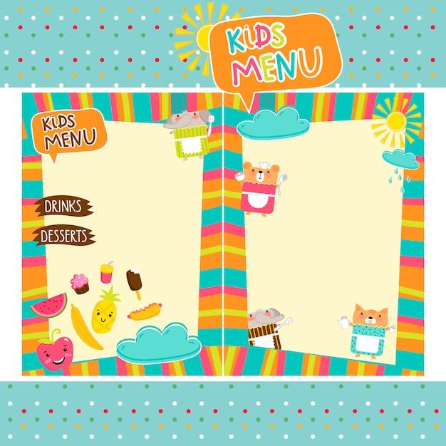 Kleurrijke kindermaaltijd menusjabloon Premium Vector