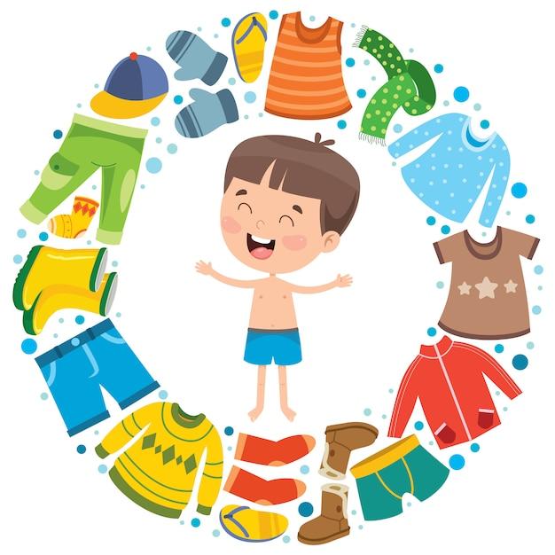 Kleurrijke kleding voor kleine kinderen Premium Vector