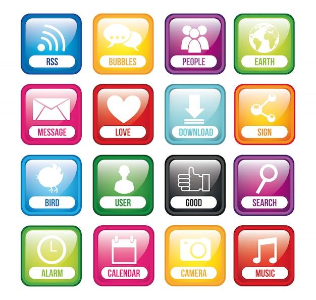 Kleurrijke knoppen app met naam app store vector illustratie Premium Vector