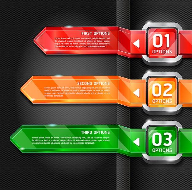 Kleurrijke knoppen website stijl nummer opties banner & kaart achtergrond. Premium Vector