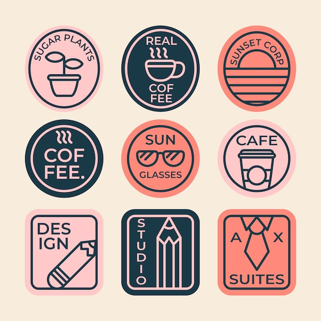 Kleurrijke koffie minimale logo collectie in retro stijl Gratis Vector