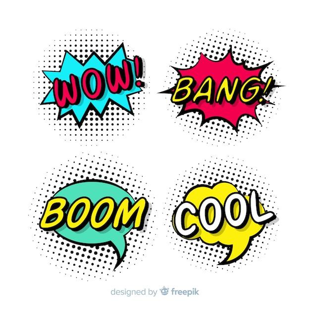 Kleurrijke komische tekstballonnen set Gratis Vector