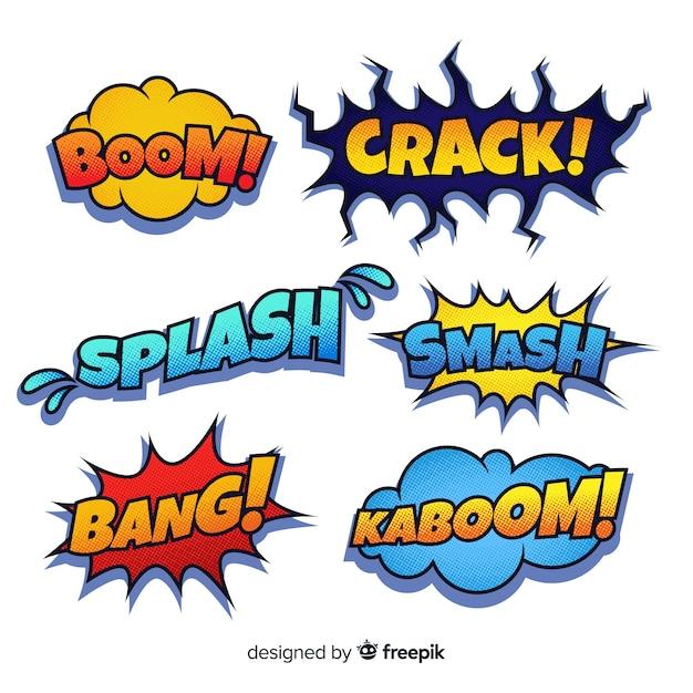 Kleurrijke komische tekstballonnen Gratis Vector