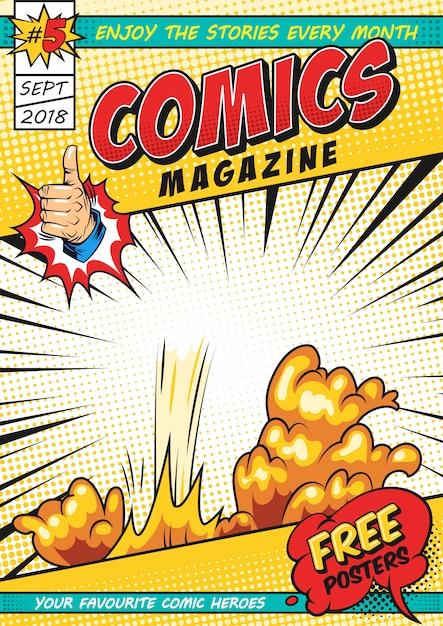 Kleurrijke komische tijdschriftdekking sjabloon Gratis Vector