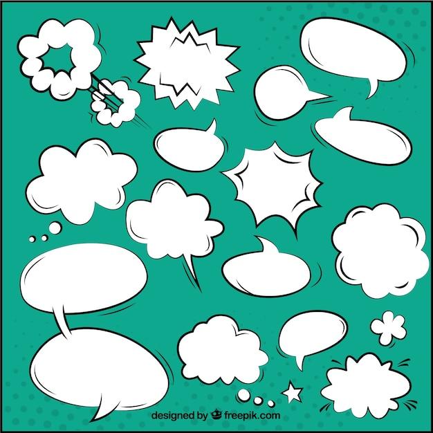 Kleurrijke komische toespraak bubbels Premium Vector