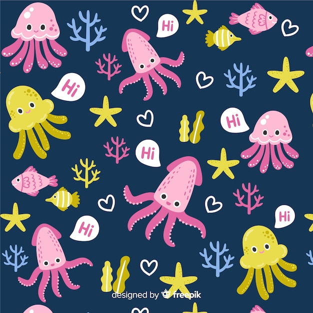 Kleurrijke krabbel overzeese dieren en woordenpatroon Gratis Vector