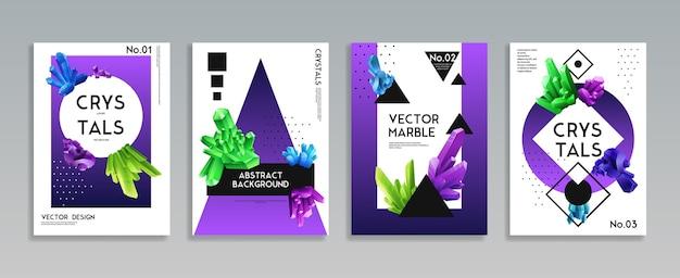 Kleurrijke kristallen 4 realistische decoratieve omslagset Gratis Vector