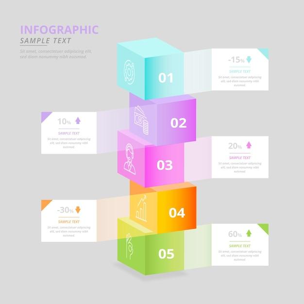 Kleurrijke kubussen infographic Gratis Vector