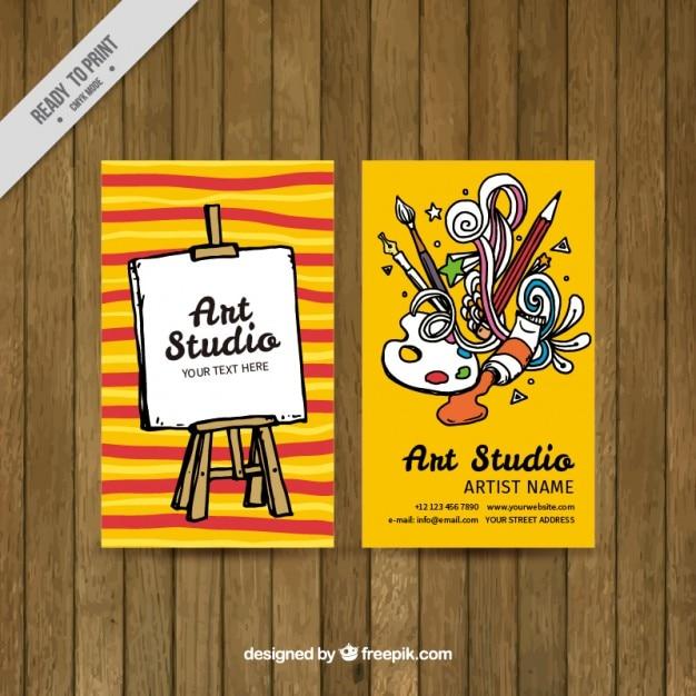 Kleurrijke kunst studio kaart Gratis Vector
