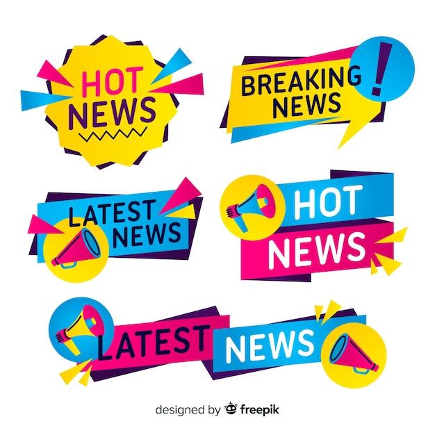 Kleurrijke laatste nieuws banners-collectie Gratis Vector
