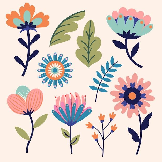Kleurrijke lente bloemencollectie Gratis Vector