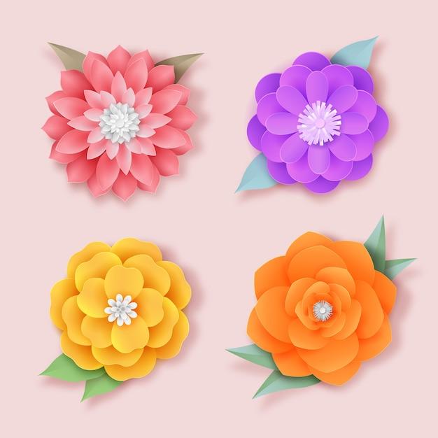 Kleurrijke lente bloemenpakket Gratis Vector
