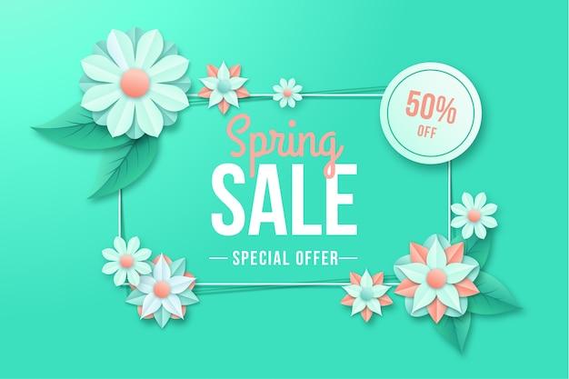 Kleurrijke lente deal in papier stijl banner Gratis Vector