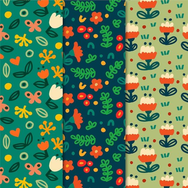 Kleurrijke lente patronen collectie Gratis Vector