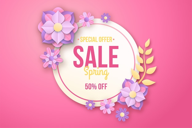 Kleurrijke lente speciale aanbieding in papier stijl banner Gratis Vector