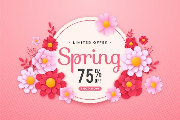 Kleurrijke lente verkoop banner in papier stijl Gratis Vector