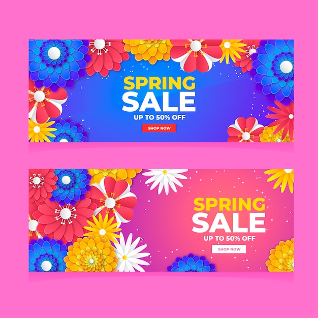 Kleurrijke lente verkoop banners plat ontwerp Gratis Vector