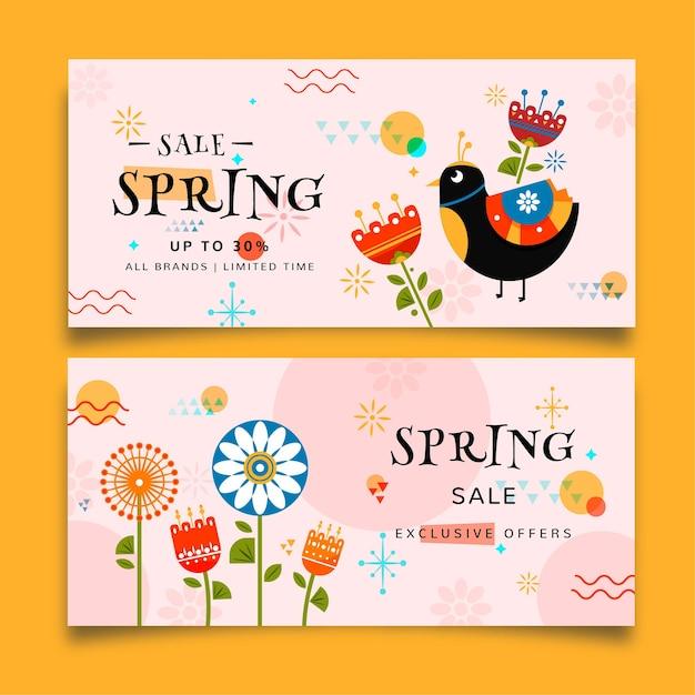 Kleurrijke lente verkoop banners Gratis Vector