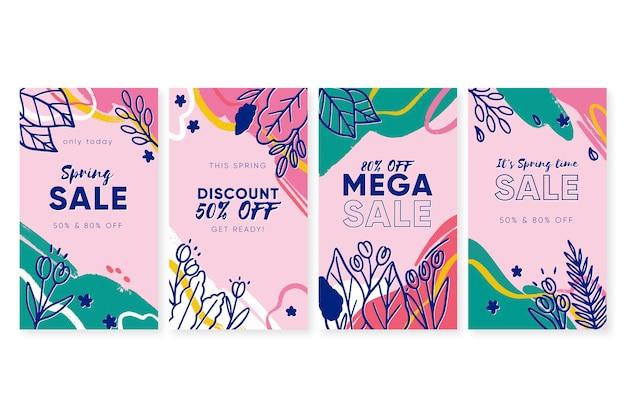 Kleurrijke lente verkoop instagram verhalen ingesteld Gratis Vector