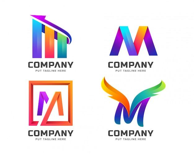 Kleurrijke letter eerste m-logo collectie Premium Vector