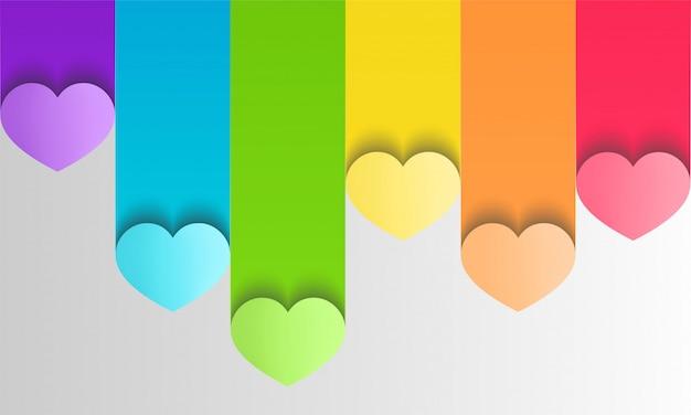 Kleurrijke lgbt-trots met harten in document ambachtelijke stijl Premium Vector