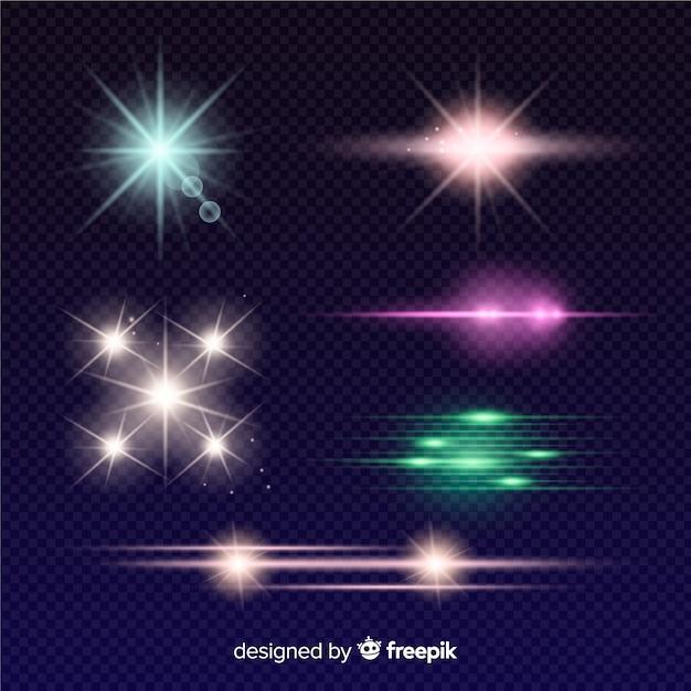 Kleurrijke lichteffectcollectie Gratis Vector