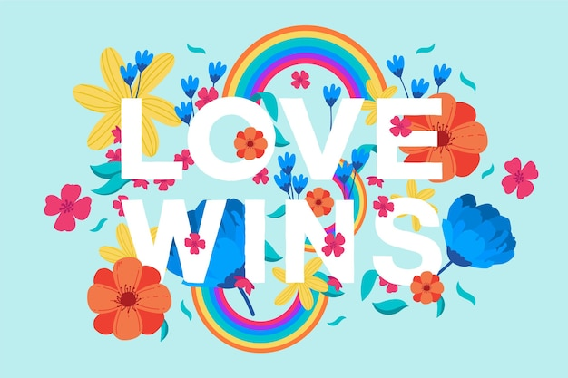 Kleurrijke liefde wint belettering Gratis Vector