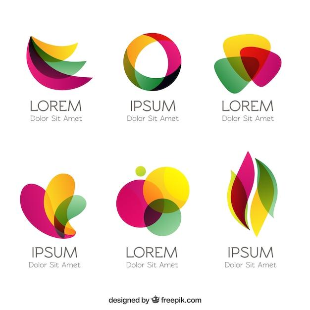 Kleurrijke logo's in abstracte stijl Gratis Vector