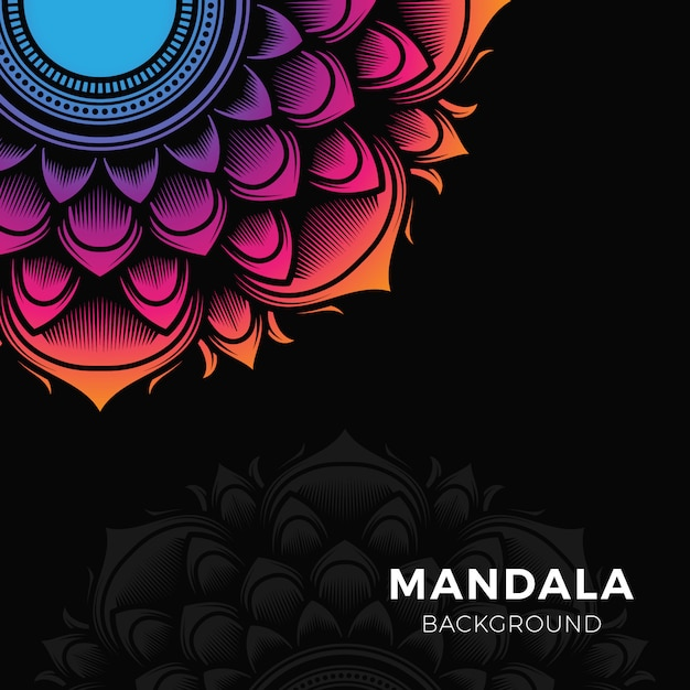 Kleurrijke mandala-achtergrond Premium Vector
