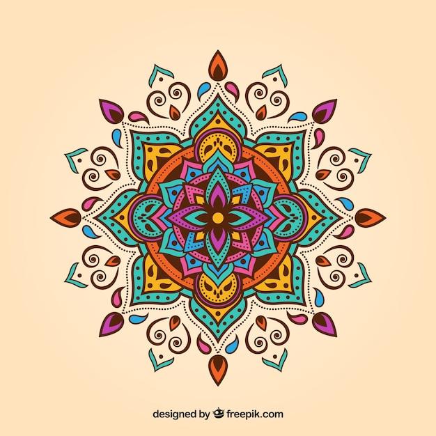 Kleurrijke mandala achtergrond Gratis Vector