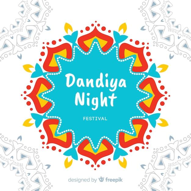 Kleurrijke mandala dandiya achtergrond Gratis Vector