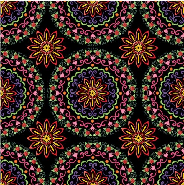 Kleurrijke mandala naadloze patroon Premium Vector