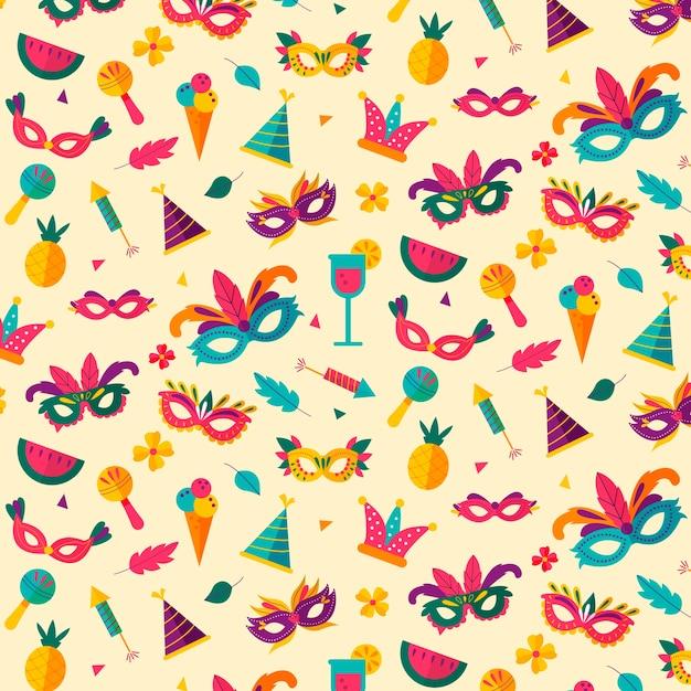 Kleurrijke maskers met patroon van veren het naadloze carnaval Gratis Vector