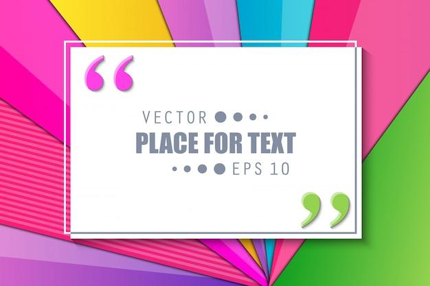 Kleurrijke materiële ontwerpcitaatachtergrond. Premium Vector