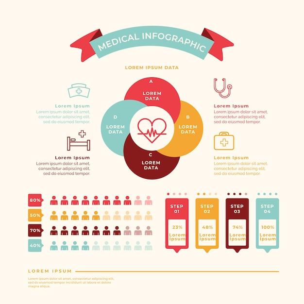 Kleurrijke medische infographic afbeelding Gratis Vector