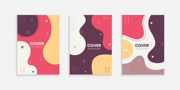 Kleurrijke memphis cover ontwerpset Premium Vector