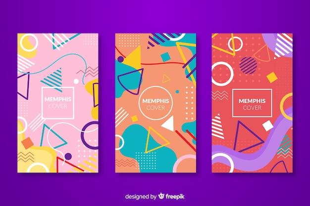 Kleurrijke memphis covers collectie Gratis Vector
