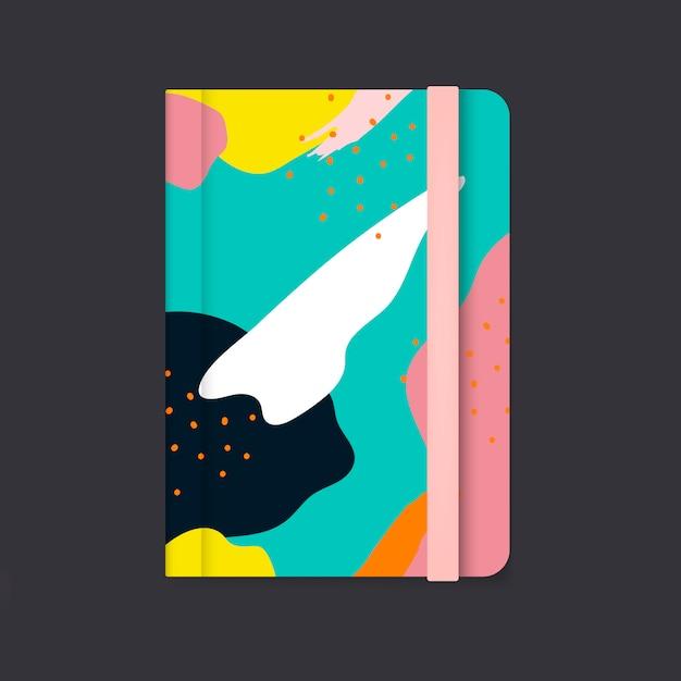Kleurrijke memphis-het ontwerpdekkingsvector van het ontwerpnotitieboekje Gratis Vector