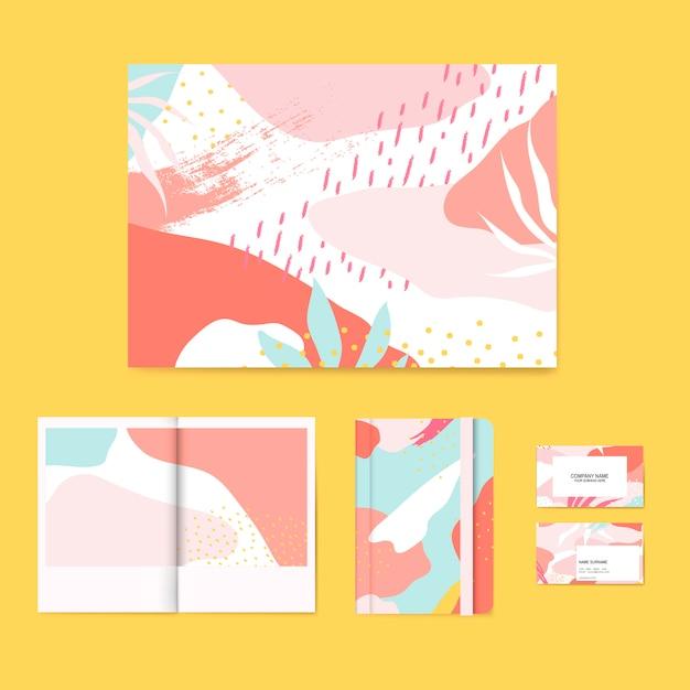 Kleurrijke memphis ontwerp lay-out vector set Gratis Vector