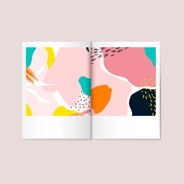 Kleurrijke memphis-ontwerptijdschriftvector Gratis Vector