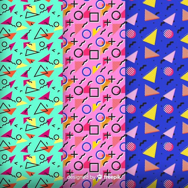 Kleurrijke memphis patroon set Gratis Vector