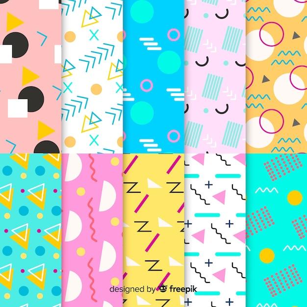 Kleurrijke memphis patrooncollectie Gratis Vector