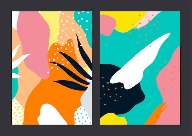 Kleurrijke memphis-stijl kaarten vector set Gratis Vector