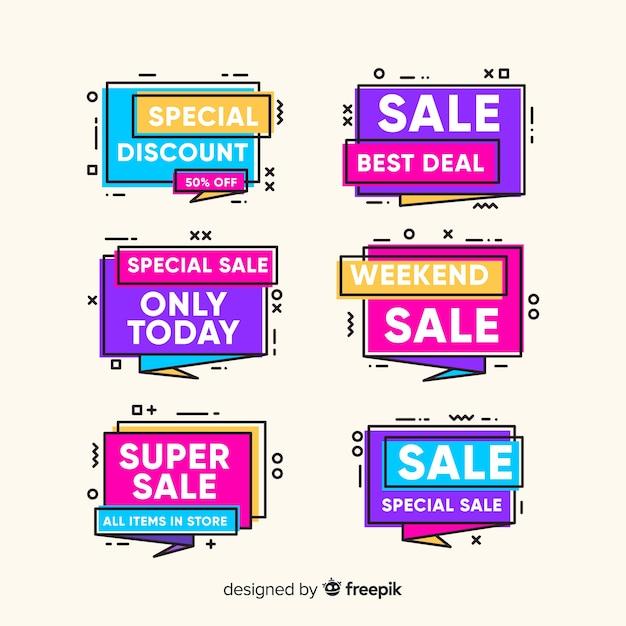 Kleurrijke memphis verkoop banner pack Gratis Vector